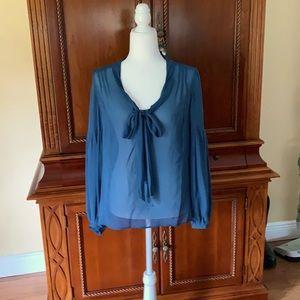 Ann Taylor Tie Neck Silk Blouse Size Medium